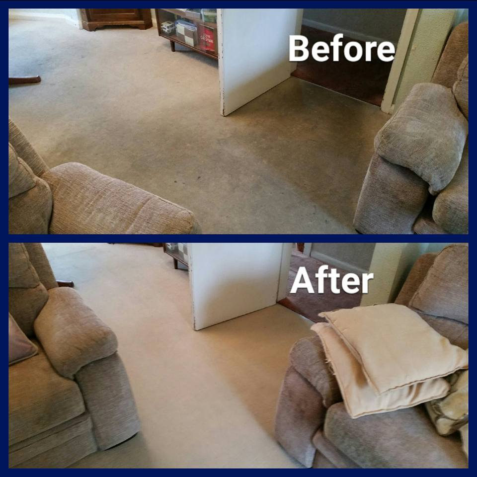 before and after restorative carpet clean with sofas and open doorway