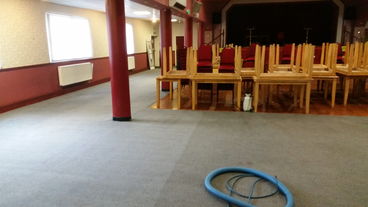 dirty and clean sections of carpet with stacked chairs and blue solution hoses
