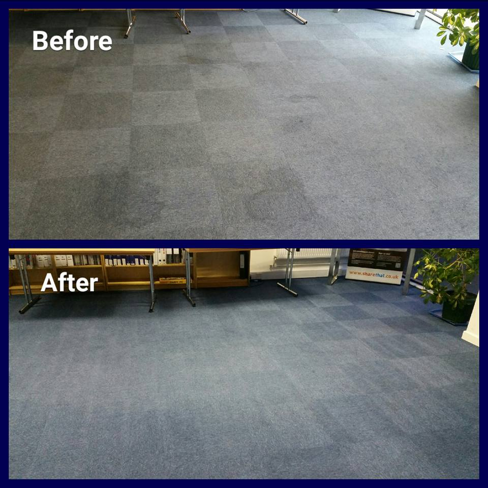 blue office carpet tiles before and after cleaning