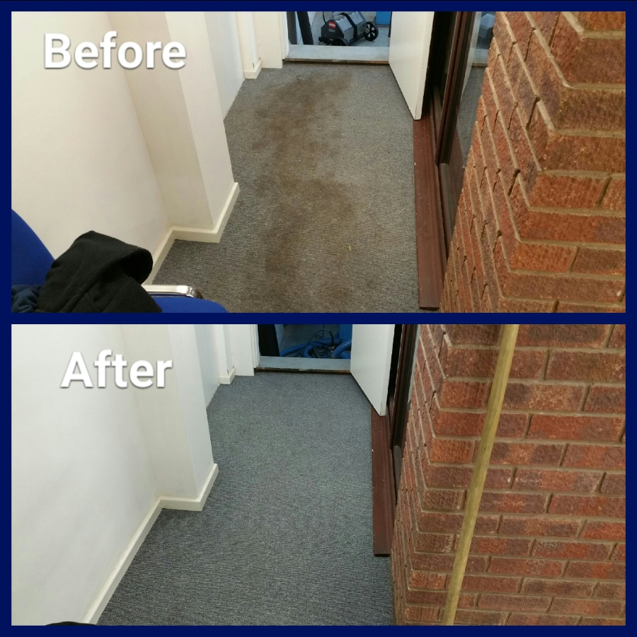 before and after cleaning carpet tiles in car garage office