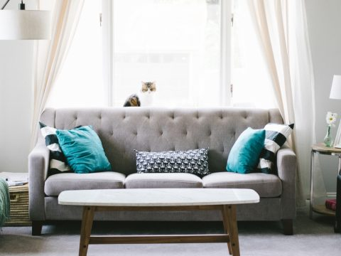 grey sofa with turquoise pillows and white coffee table